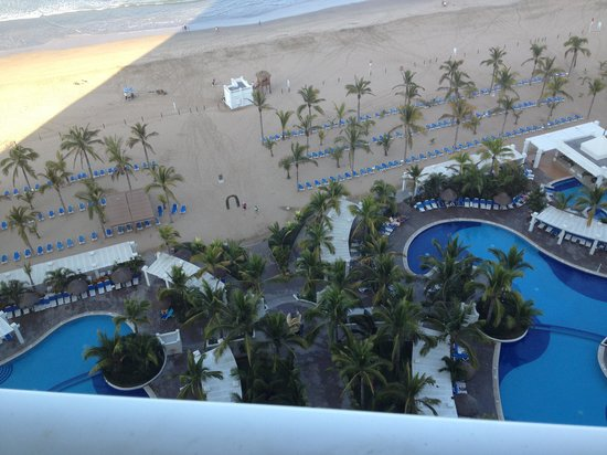 Hotel Riu Emerald Bay: looking down at the pools from the rooms