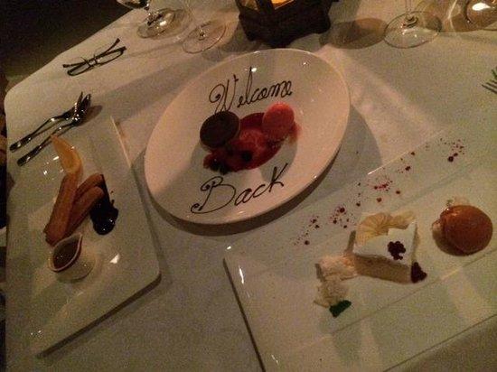 The Restaurant @ Las Ventanas al Paraiso: nice welcome back!