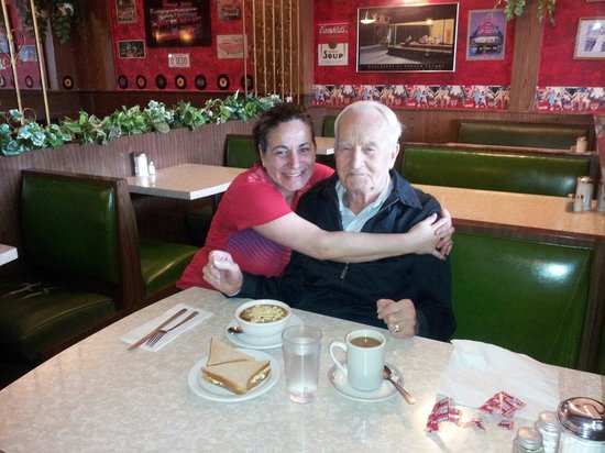 St Clair Restaurant: A loyal customer for many decades, Roy, a WWII veteran is pictured here with waitress Marcia.