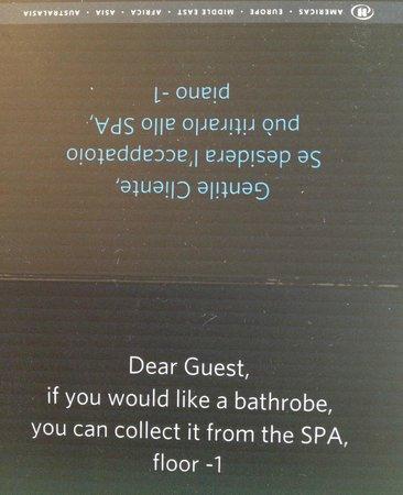 Hilton Giardini Naxos : Leaflet in bathroom