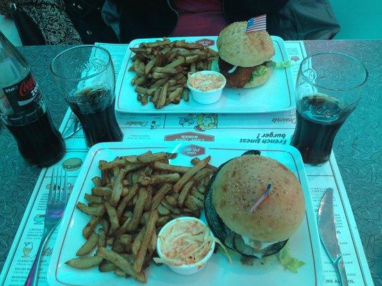 Little Rock Diner : Hamburger vegetarien et hambuger au poulet pané