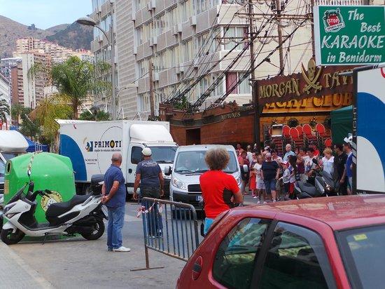 Presidente Hotel: filming new benidorm show  round corner from hotel