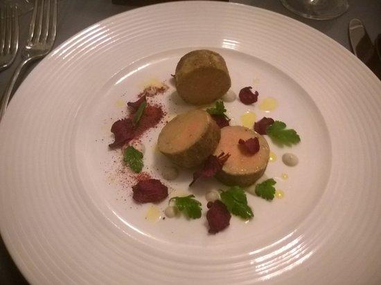 Malt Room: Ballotine of Foie Gras, Local Celeriac, Aubergine, Malt Toast £9.50