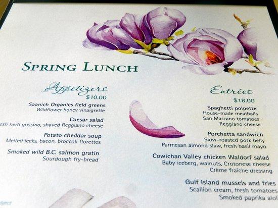 The Dining Room Restaurant - Butchart Gardens: Spring Lunch Menu
