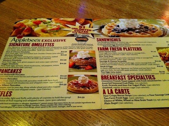 You have landed on the best page for the latest Applebee's menu prices. Applebee's Neighborhood Grill & Bar is a casual dining restaurant chain serving classic dishes such as burgers, ribs, sandwiches, chicken, fish, salads and pasta.