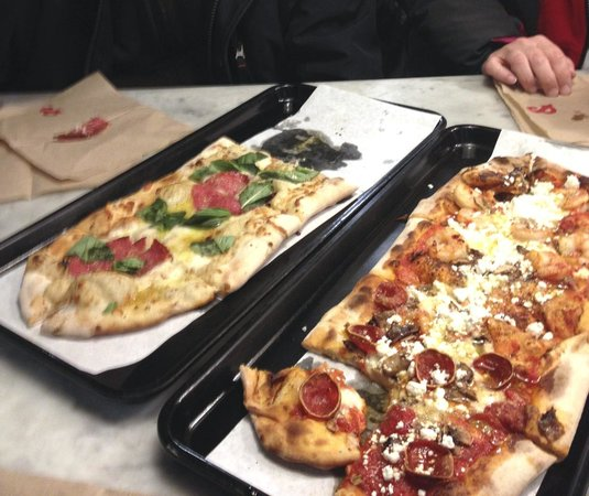 &pizza : A white pizza and a more traditional choice. Cheeses were awesome.