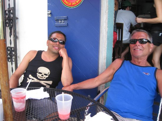 Steve and Alex at the Big Kahuna Rum Shack, our favorite spot on the island