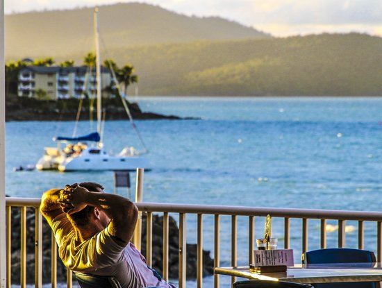 Whitsunday Sailing Club's balcony looks over Airlie Beach
