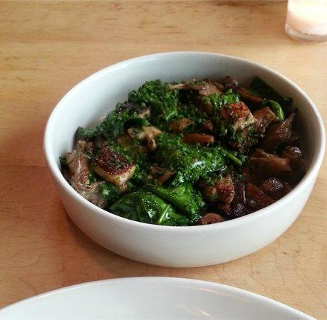 Ox Restaurant: Sauteed greens with foie gras and lardons - OX