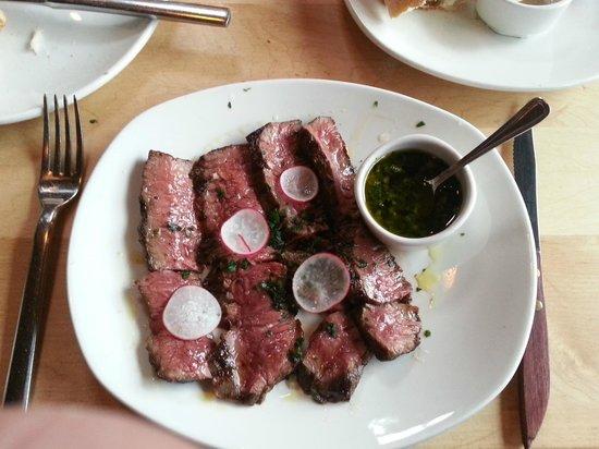 Ox Restaurant: Rare sliced skirt steak with radishes and chimichurri - OX
