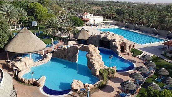 Danat Al Ain Resort: View of both Main pools