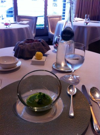 Petrus: Amuse bouche of spring vegetable gazpacho and ricotta cheese with olive oil