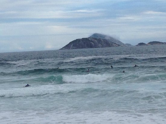 Ipanema Beach: the rocky island structure off the coast