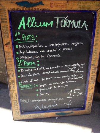 Restaurant Allium: Notre menu du jour à 15 euros