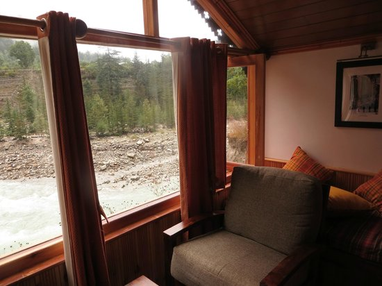 Banjara Camp &  Retreat - Sangla Valley Camp: Living Area of river view cottage.. when it rained!