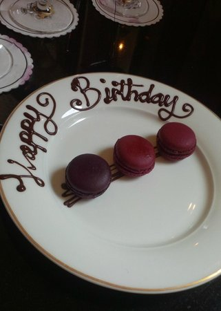 The Shelbourne Dublin, A Renaissance Hotel: birthday macarons courtesy of the The Shelbourne