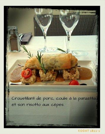Le Paparazzi : Croustillant de porc et son risotto crémeux aux cèpes
