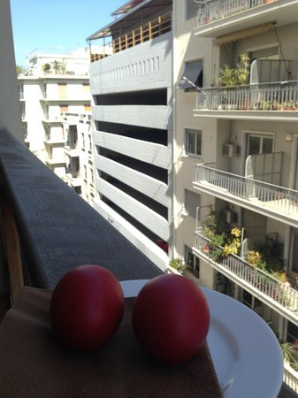 New Hotel: We were even given red eggs and candles to celebrate Greek Easter like a local