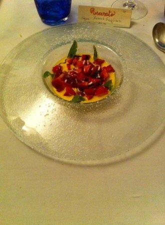 Hotel Antico Furlo: fragole in una cremina delizionsa con zuccherini