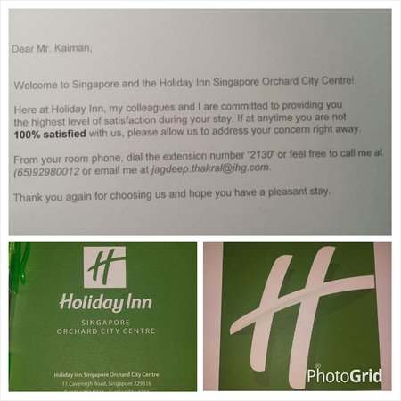 Holiday Inn Singapore Orchard City Centre: My Welcome Card!
