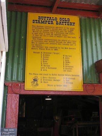 Coromandel Gold Stamper Battery: Entree sign of Stamper battery
