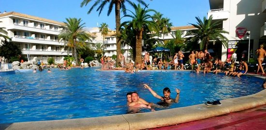 BH Mallorca: Pool party...the lads in the photo were in the room below us.
