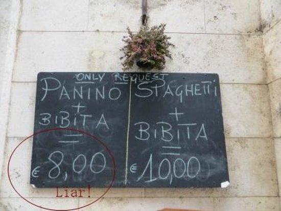 Caffe Sant Anna: Price outside
