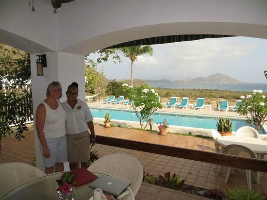 The Mount Nevis Hotel: My wife and our waitress at breakfast