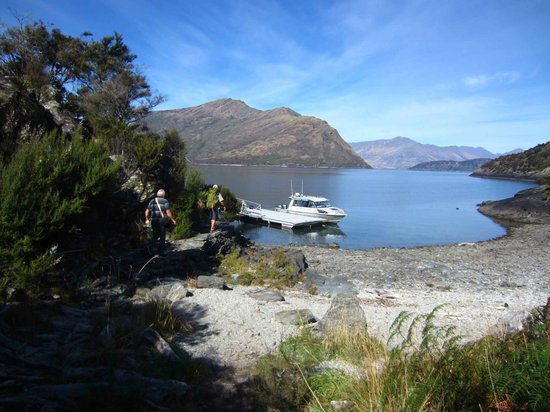Eco Wanaka Adventures: Our boat moored at the island jetty