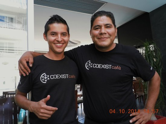 Coexist Cafe: Two great looking, fun wonderful servers!!  Niva and Alonso!