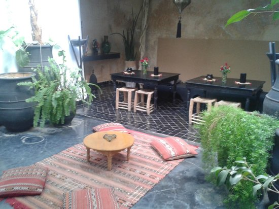 Riad Golfame: Zona relax con fontana e tartarughe