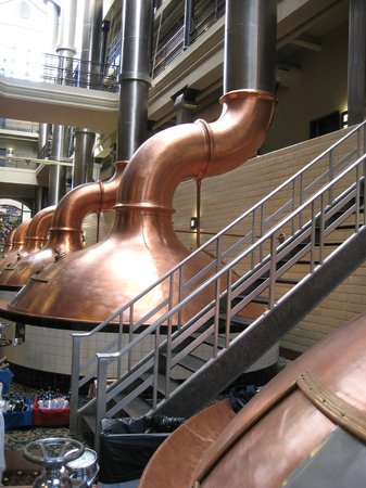 "The Brewhouse Inn & Suites: Original brewing ""kettles"" still in place in lobby."