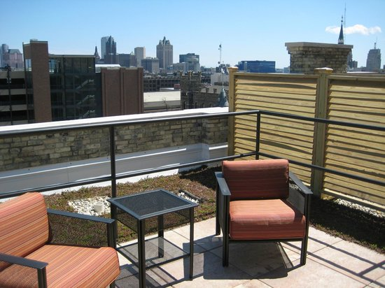 The Brewhouse Inn & Suites: Our suite terrace overlooking Milwaukee (you should see this at night)