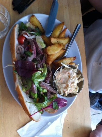 Chowder Cafe: Steak open sandich with coleslaw