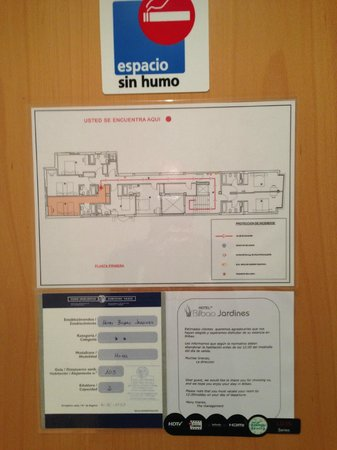 Bilbao Jardines Hotel: 避難路・見取り図