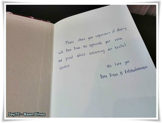 Baan Dinso @ Ratchadamnoen: what a nice touch ..... with this notebook in guest room