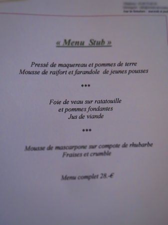 Wistub du Sommelier : menu Winstub