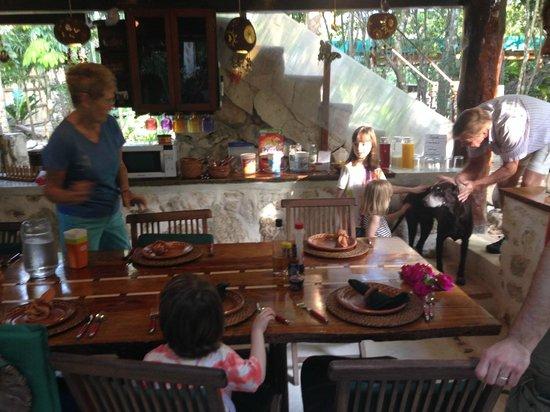 La Selva Mariposa: Eating area (and Moe!).