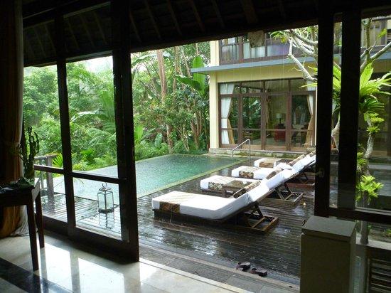 Komaneka at Bisma : 2 bedroom villa - view of pool from master ensuite pavilion