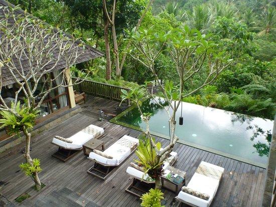 Komaneka at Bisma: 2 bedroom villa - view of pool & master ensuite pavilion from the 2nd bedroom balcony