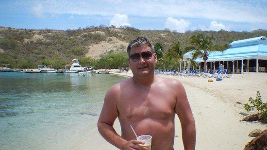 Palm Tree Charters: Me enjoying at Bushwacker at Pirates Bight on Norman Island BVI