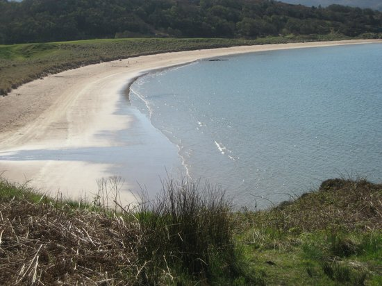 Coming out of Loch Maree to sandy beach at Gairloch