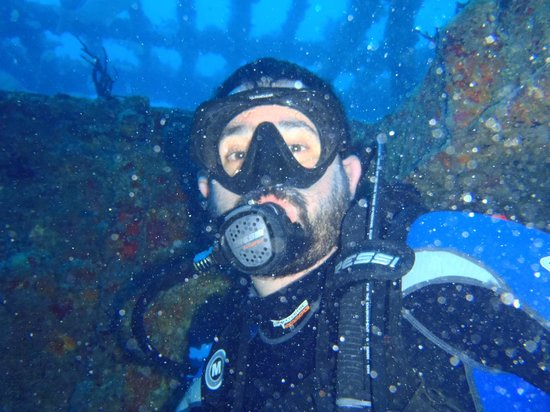 Planet Scuba Mexico: Just fixing to exit the Sunken US Navy C-56 off the shore of Puerto Moreles
