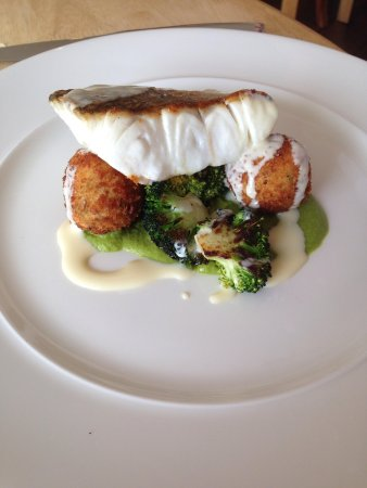 Ben's Cornish Kitchen: Roast hake with pea purée, fish bon bons and broccoli