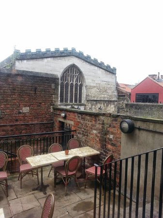 Cafe Rouge - York Coney Street: Overlooking York's Guild Hall from Cafe Rouge's rear patio