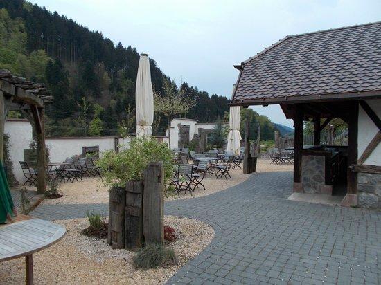 Landgasthaus Gruener Baum : Otelin açık alandaki cafe-restoranı