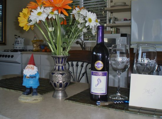 The Tides Laguna Beach: our little kitchen, Norman, our gnome, loved it there