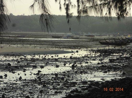 Nikitas Beach Restaurant : Longtails a marée basse vue de Nikitas