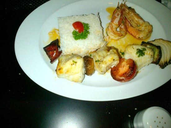 Don Alfonso : Monk Fish and Prawns Kebab with Basmati Rice