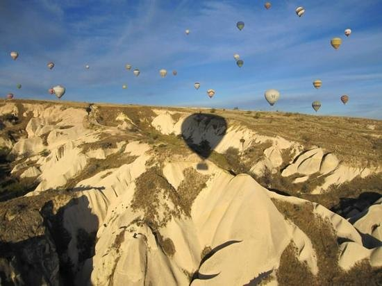 Cappadocia Voyager Balloons: we are in the picture. can you see which balloon is ours?